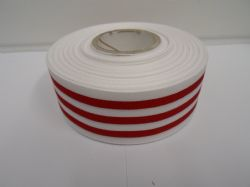 White with Red Stripe grosgrain ribbon deck chair stripe double sided 15mm 38mm 2 or 20 metre roll